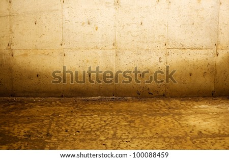 Interior depiction of water damage to walls from flooding. Good for numerous concepts, such as poverty, distress, abandonment, construction, and more. - stock photo