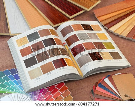 Interior design and house renovations concept  Catalog of wood samples   color palette and leather. Catalog Stock Images  Royalty Free Images   Vectors   Shutterstock