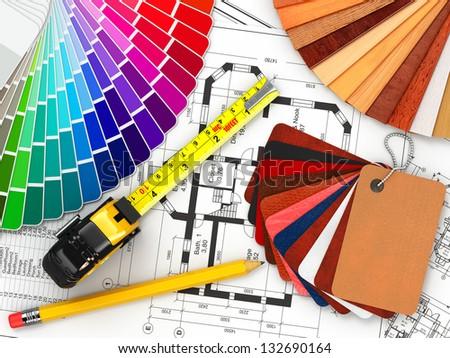 Interior Design Blueprints interior design architectural materials measuring tools stock