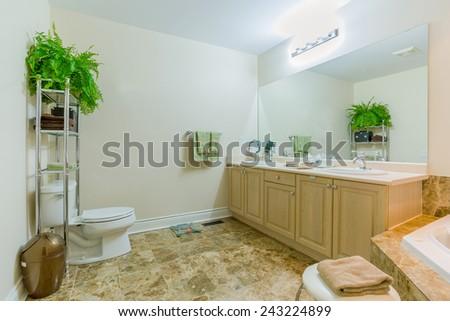 Interior design bathroom  in new house - stock photo