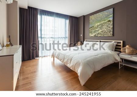 interior design bedroom - stock photo