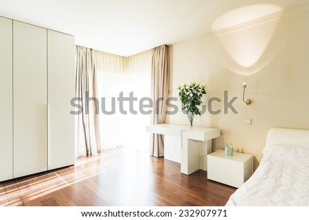 Interior design: Big modern Bedroom . - stock photo