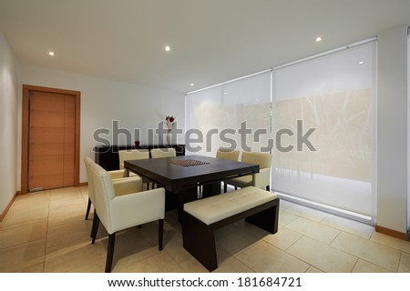 Interior design: Big modern dining room - stock photo