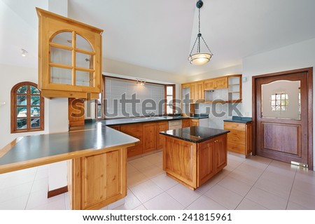 Interior design: Big modern kitchen - stock photo
