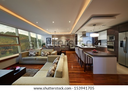 Interior design: Big Modern Living room and kitchen - stock photo