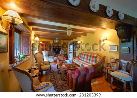 Interior design: Big rustic style living room - stock photo