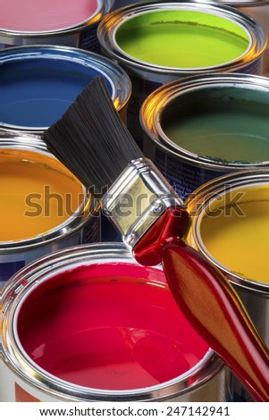 Interior Design - Colorful water-based paints used in painting and decorating. - stock photo