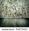 Interior design, crime place,  dotted wall and wooden floor as background to design - stock photo