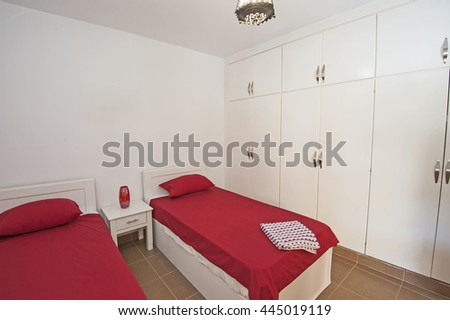 Interior design decor of an apartment bedroom with furniture