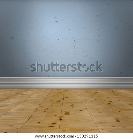 Interior design detail. Blue old  wall with  baseboard molding and wooden floor.