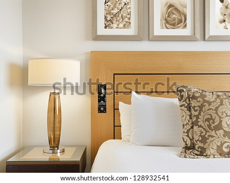Interior design detail of a luxury hotel room