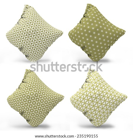 Interior design elements Decorative pillow set in Brown and White color with patterned pillowcase. Isolated on white. - stock photo