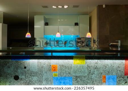 Interior design: Kitchen / Bar house - stock photo