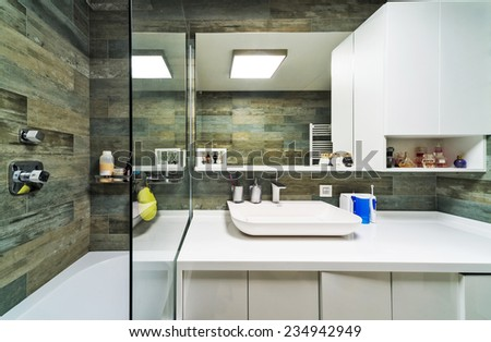 Interior design. Large Bathroom in Luxury Home - stock photo