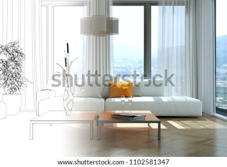 Interior Design Living Room Drawing Gradation Into Photograph 3D Illustration