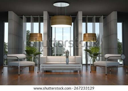 Interior Design: Living room on wooden floor - stock photo