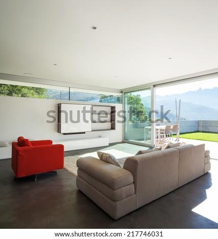 Interior design, modern apartment, livingroom - stock photo