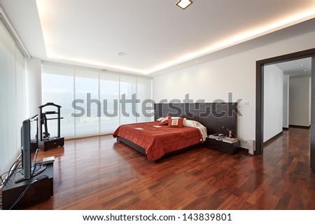 Interior design: Modern big bedroom - stock photo