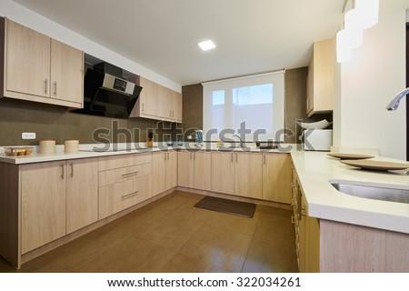 Interior design: Modern big kitchen - stock photo