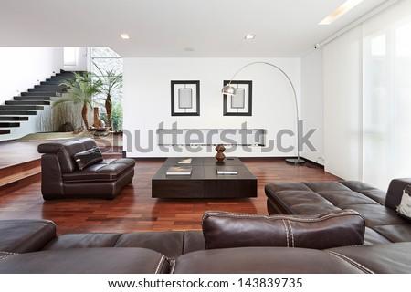 Interior design: Modern big living room - stock photo