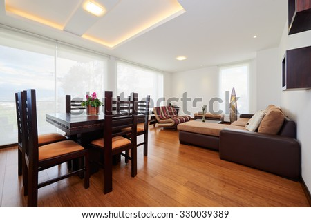 Interior design: Modern dining room and living room - stock photo