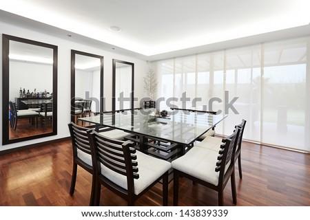 Interior design: Modern elegant dining room - stock photo