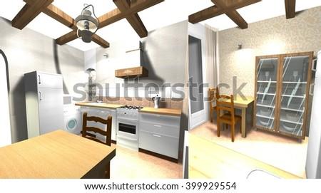 Interior Design Modern Italian Style Cuisine 3D Rendering