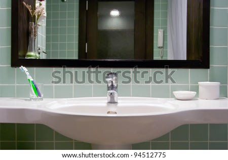 Interior design of a bathroom - stock photo