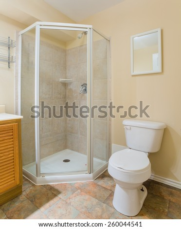 Interior design of a bathroom  in new house - stock photo