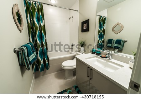 Interior design of a bathroom with washbasin (sink), shower, toilet and the counter.