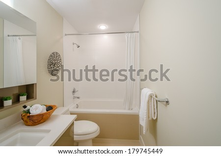 Interior design of a beautiful bright bathroom in a house hotel - stock photo