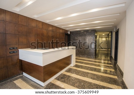 Interior design of a corridor inside a luxury modern apartment building