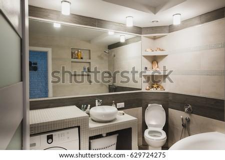 Interior design of a luxury bathroom, washroom with washbasin (sink),  bathtub,