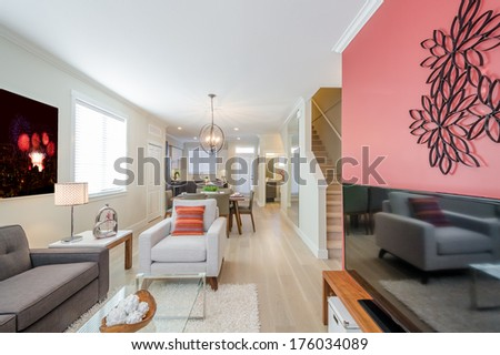 Interior design of a luxury living room - stock photo