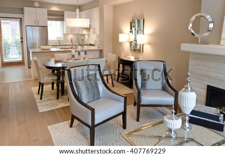 Interior design of a luxury modern kitchen. - stock photo