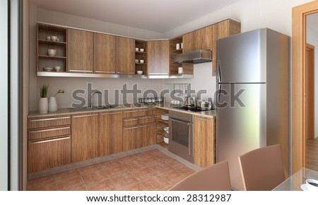 interior design of a modern kitchen in tan and wood