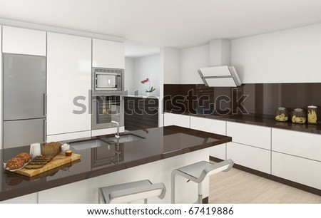 interior design of a modern kitchen in white and brown colors