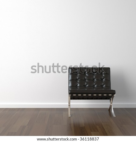 interior design of black barcelona chair on a white wall with copy space - stock photo