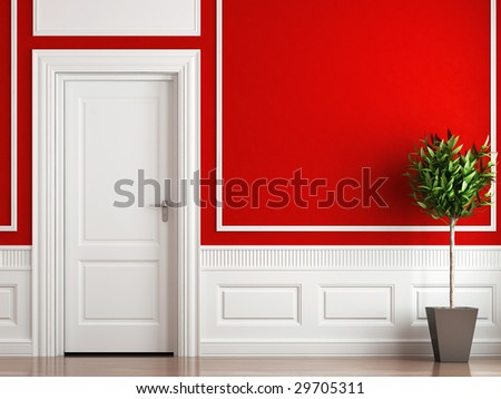 interior design of classic room in red and white colors with plant - stock photo