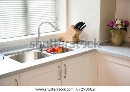 interior design of clean modern kitchen. - stock photo