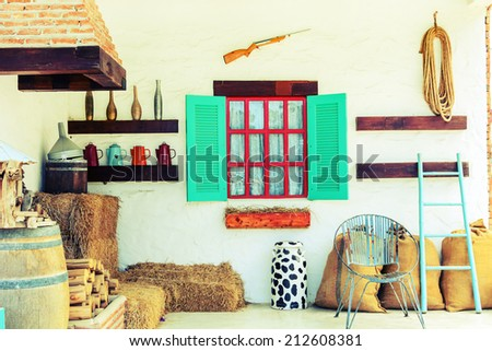 interior design of country house, Vintage style  - stock photo