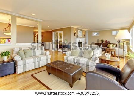Interior design of cozy classic living room with hardwood floor - stock photo