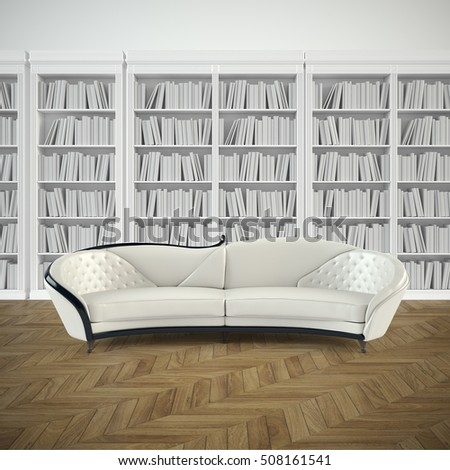 interior design of library with sofa 3D illustration
