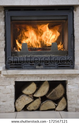 Interior design of living room with fireplace