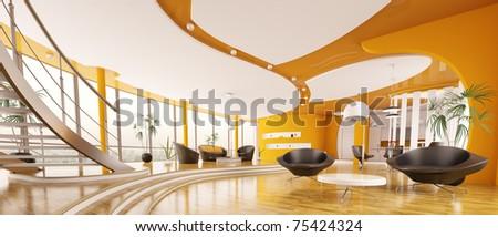 Interior design  of modern apartment living room hall panorama 3d render - stock photo