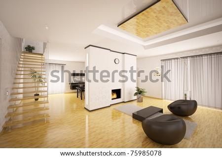 Interior Design Of Modern Apartment Living Room Kitchen 3d Render
