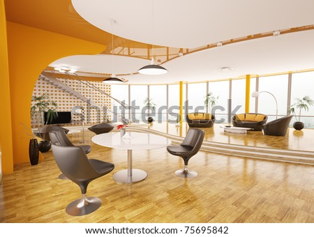 Interior design of modern apartment living room with staircase 3d render - stock photo