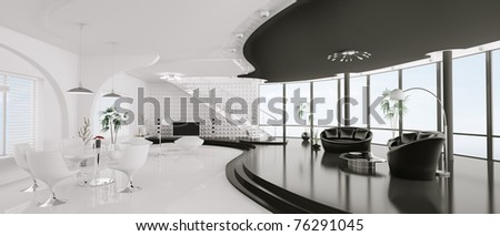 Interior design of modern apartment panorama 3d render - stock photo