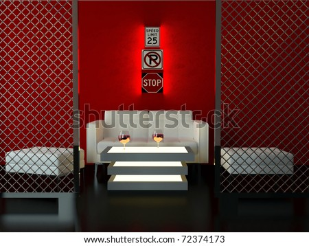 red cafe funky interior stock photos, images, & pictures