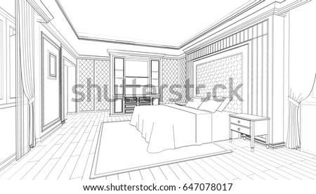 Awesome Interior Design Of Modern Classic Style Bedroom, 3D Outline Sketch,  Perspective